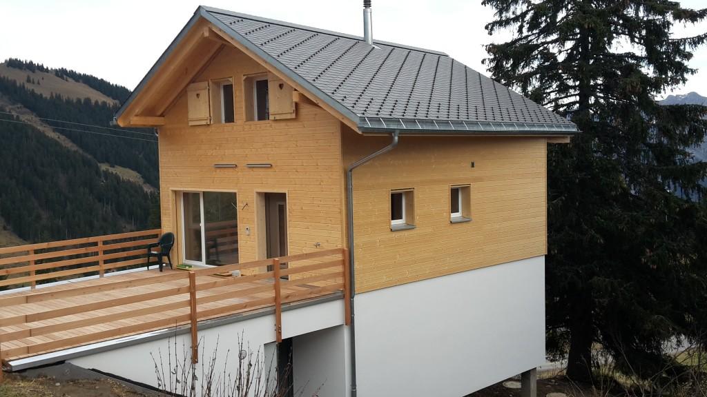 Holzfassade auf Holzsystembau