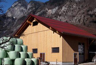 Stall mit Blecheindeckung und Fichten Fassade