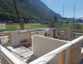 Aufrichtarbeiten Holzelementbau