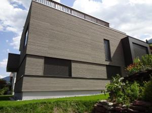 Vorvergraute Fassade mit Kubischen Formen