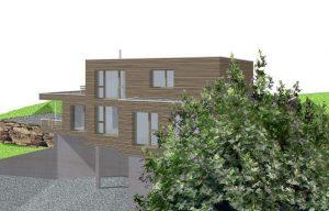 Visualisierung eines Neubaus, Hausstil Kubisch mit Terrassen